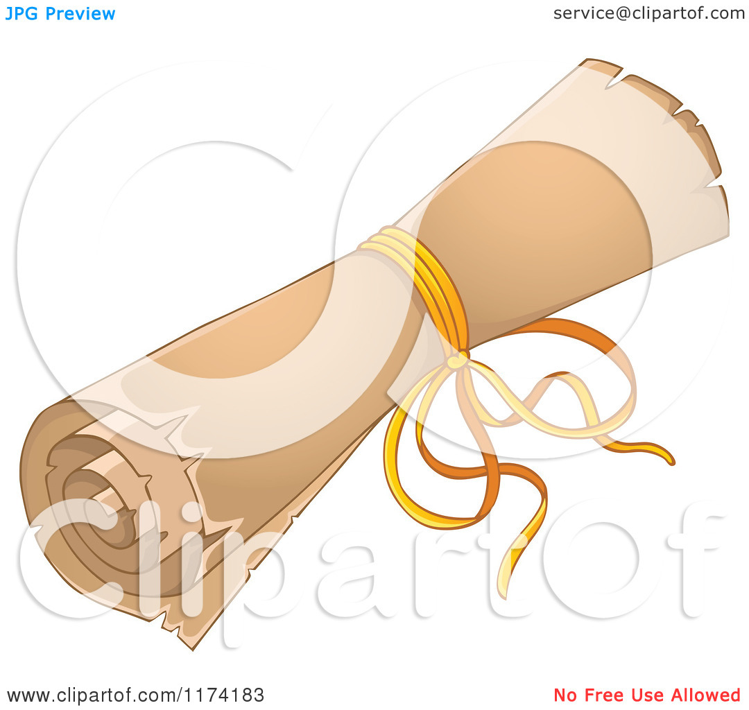 Cartoon of a Rolled up Old Scroll Tied with a Ribbon.