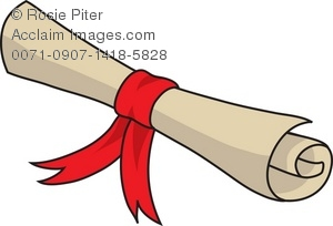 Clip Art Illustration Of A Rolled Up Scroll Tied With A Red Ribbon.