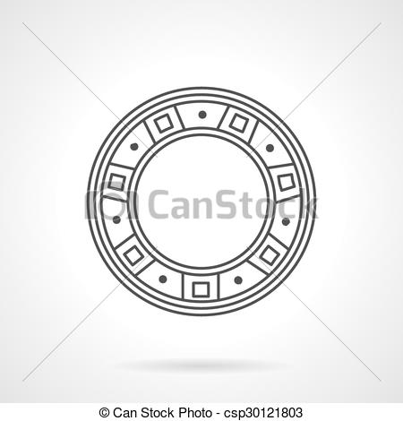 Vector Clipart of Roller bearing line vector icon.