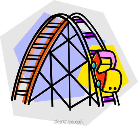roller coaster rides Royalty Free Vector Clip Art.