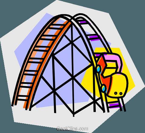 roller coaster rides Royalty Free Vector Clip Art.