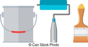 Clipart Vector of Painter instrument for painting flat brush.