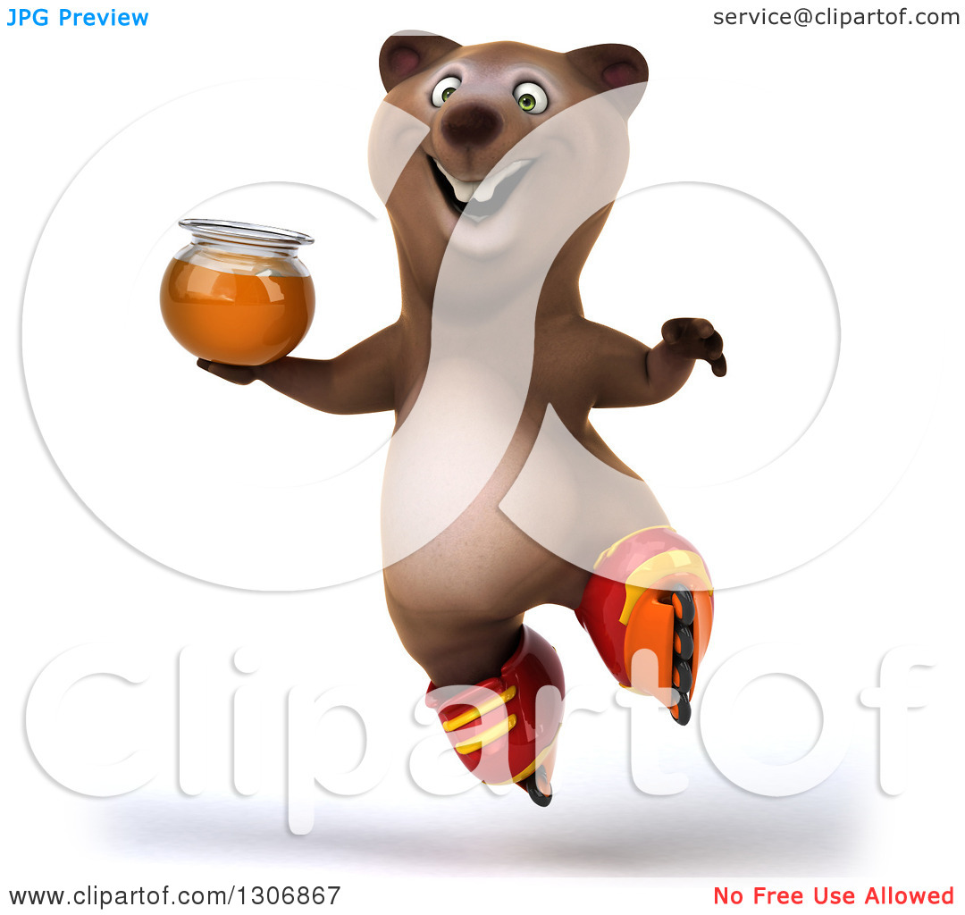 Clipart of a 3d Happy Brown Bear Wearing Inline Roller Skates.