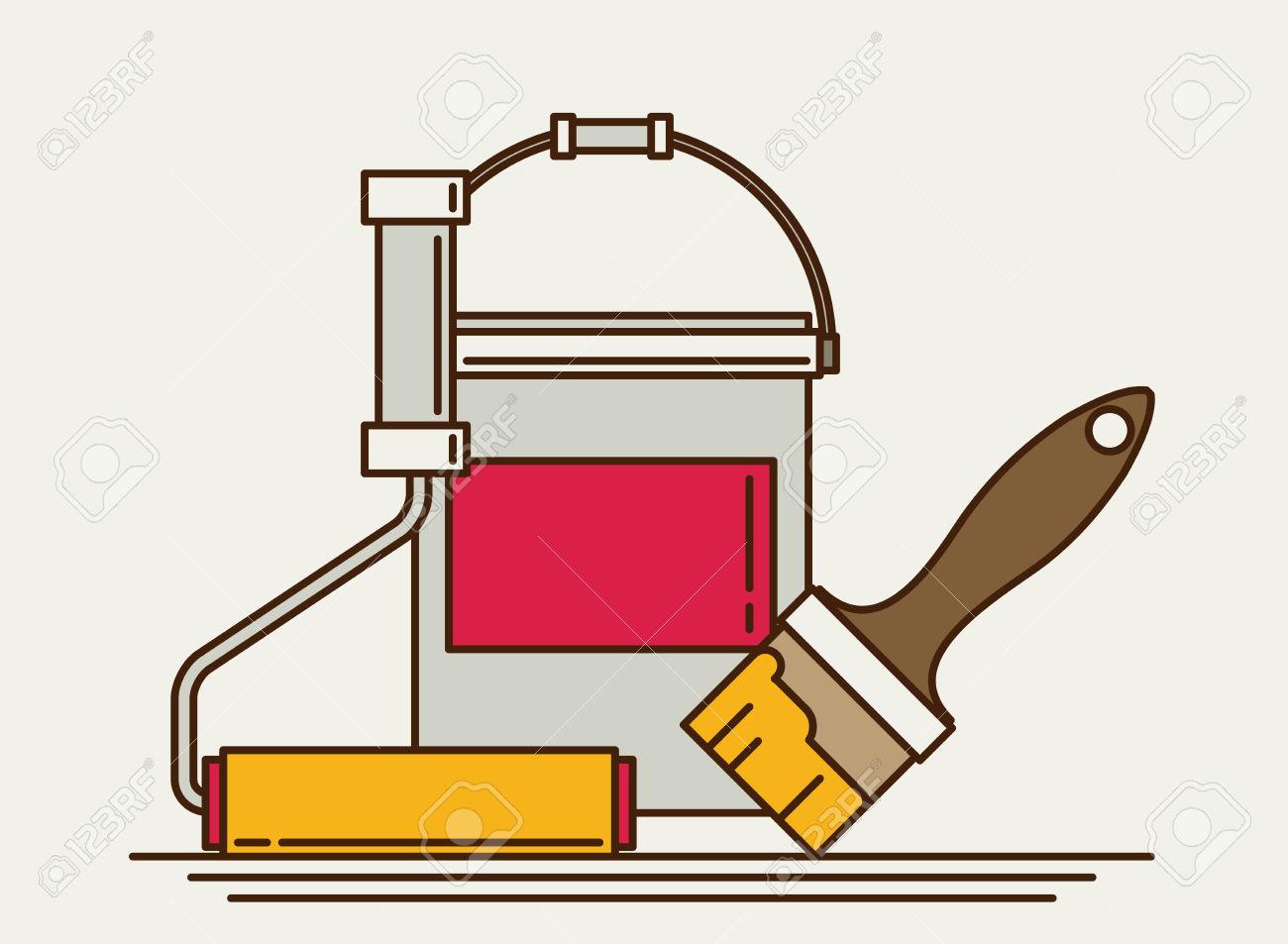 Painter Instrument For Painting Flat Brush Roller Paint Jar.
