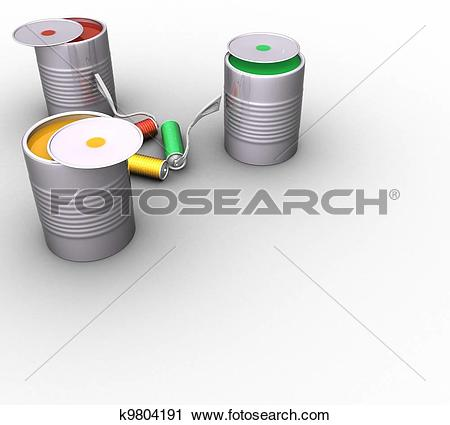 Clipart of 3d jars of red, green and yellow paint and rollers in.