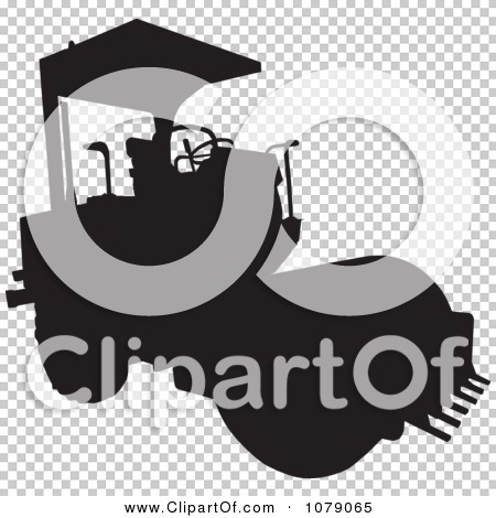 Clipart Black Silhouetted Road Roller Machine.