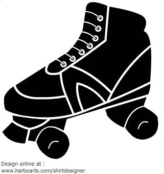 Roller Skate Silhouette Clip Art.
