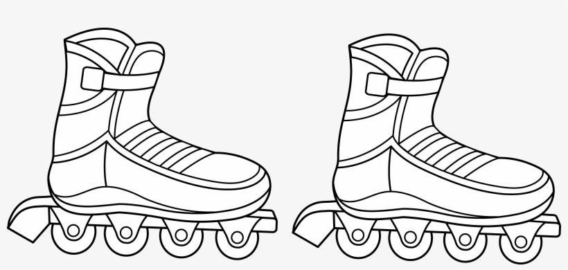 Jpg Black And White Library Roller Skates Clipart Draw.
