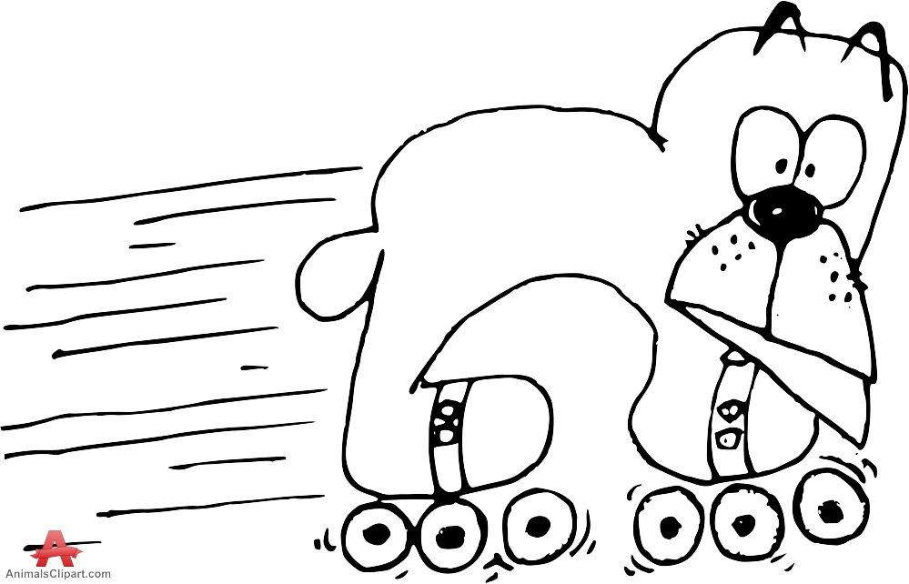 Dog on Roller Skates Outline Clipart.