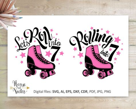 Rolling into 7 vector digital download file. Roller skates.