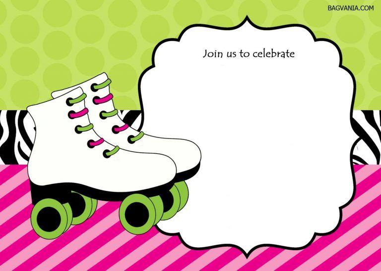 skate party invitation template.