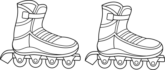 Rollerblades Colorable Line Art.