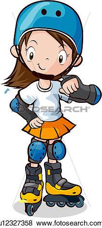 Stock Illustration of Girl Rollerblading u12327358.
