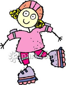 Little girl rollerblading clipart free.