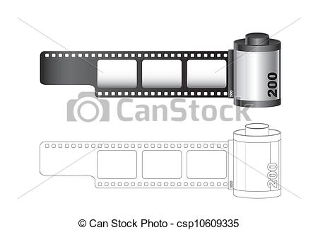 Vectors of Camera film roll with lines isolated over white.