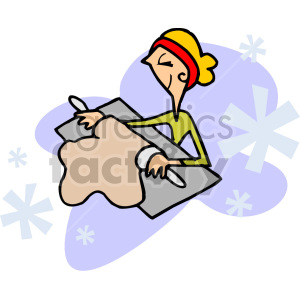 woman rolling dough clipart. Royalty.