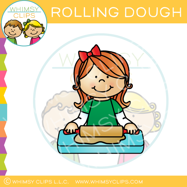 Girl Rolling Cookie Dough Clip Art.