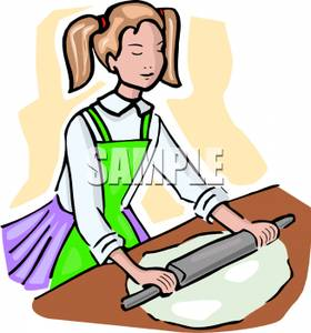 Girl Rolling Dough with Rolling Pin.
