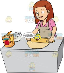 A Woman Flattening A Dough With A Rolling Pin.