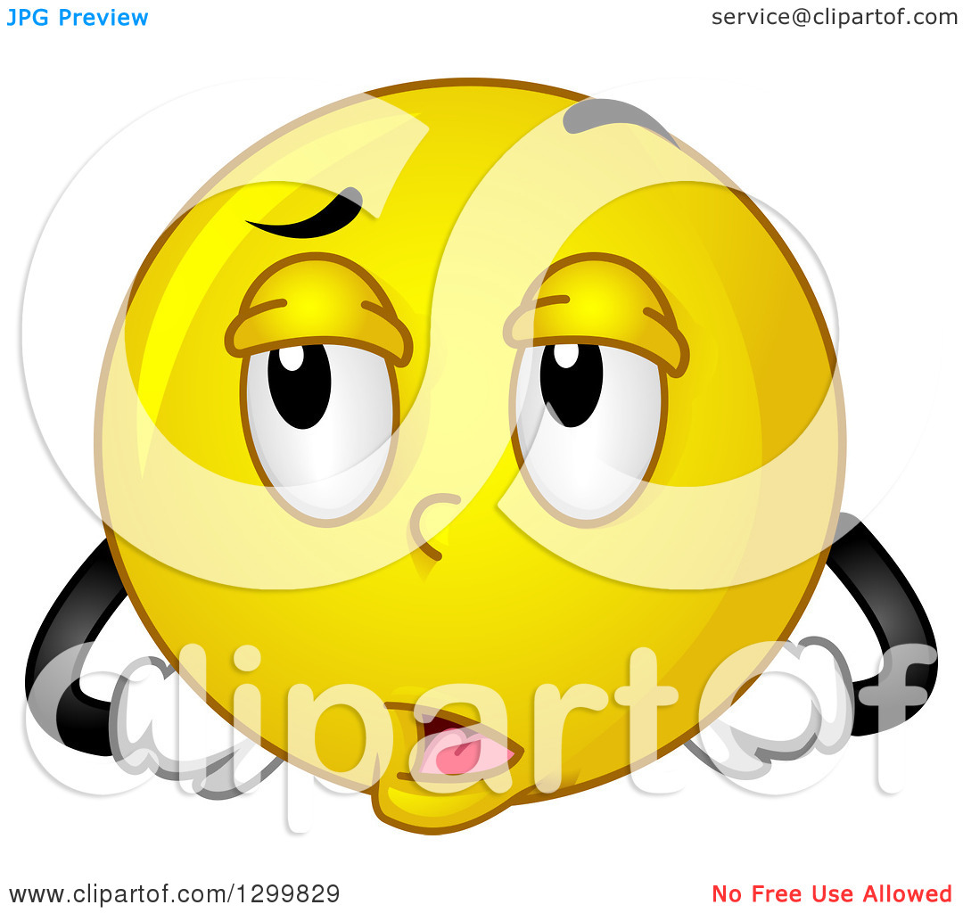 Clipart of a Cartoon Yellow Smiley Face Emoticon Rolling His Eyes.