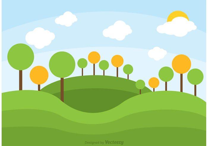 Rolling Hills Landscape Vector.