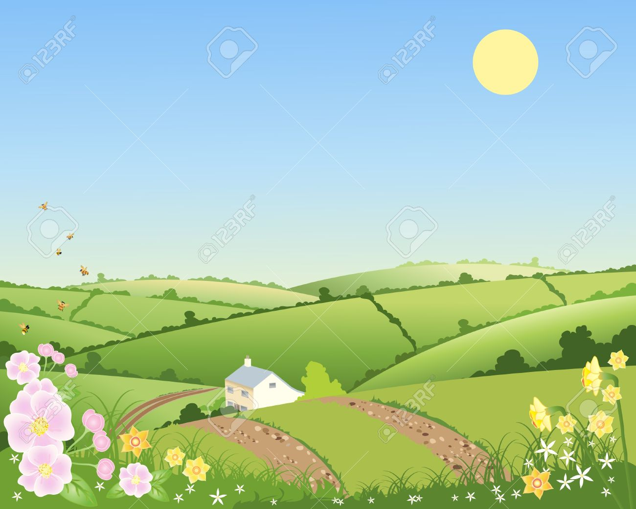 Rolling hills clipart.