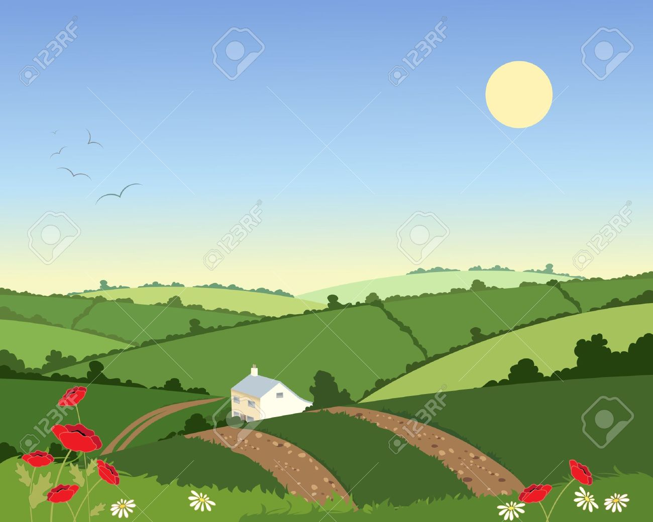 Rolling Hills Landscape Clip Art.