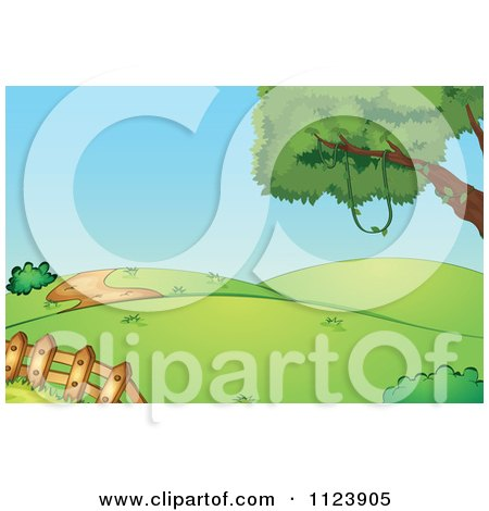 Cartoon Of Rolling Hills With A Picket Fence And Tree.