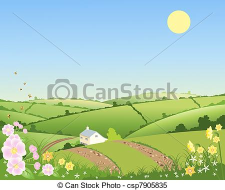 Clipart Vector of country cottage in spring.