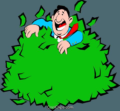Cartoon man rolling in money Royalty Free Vector Clip Art.