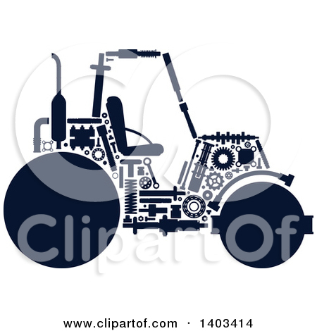 Clipart of a Road Roller Machine with Visible Parts.