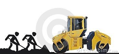 Excavator And Dump Truck Stock Photo.