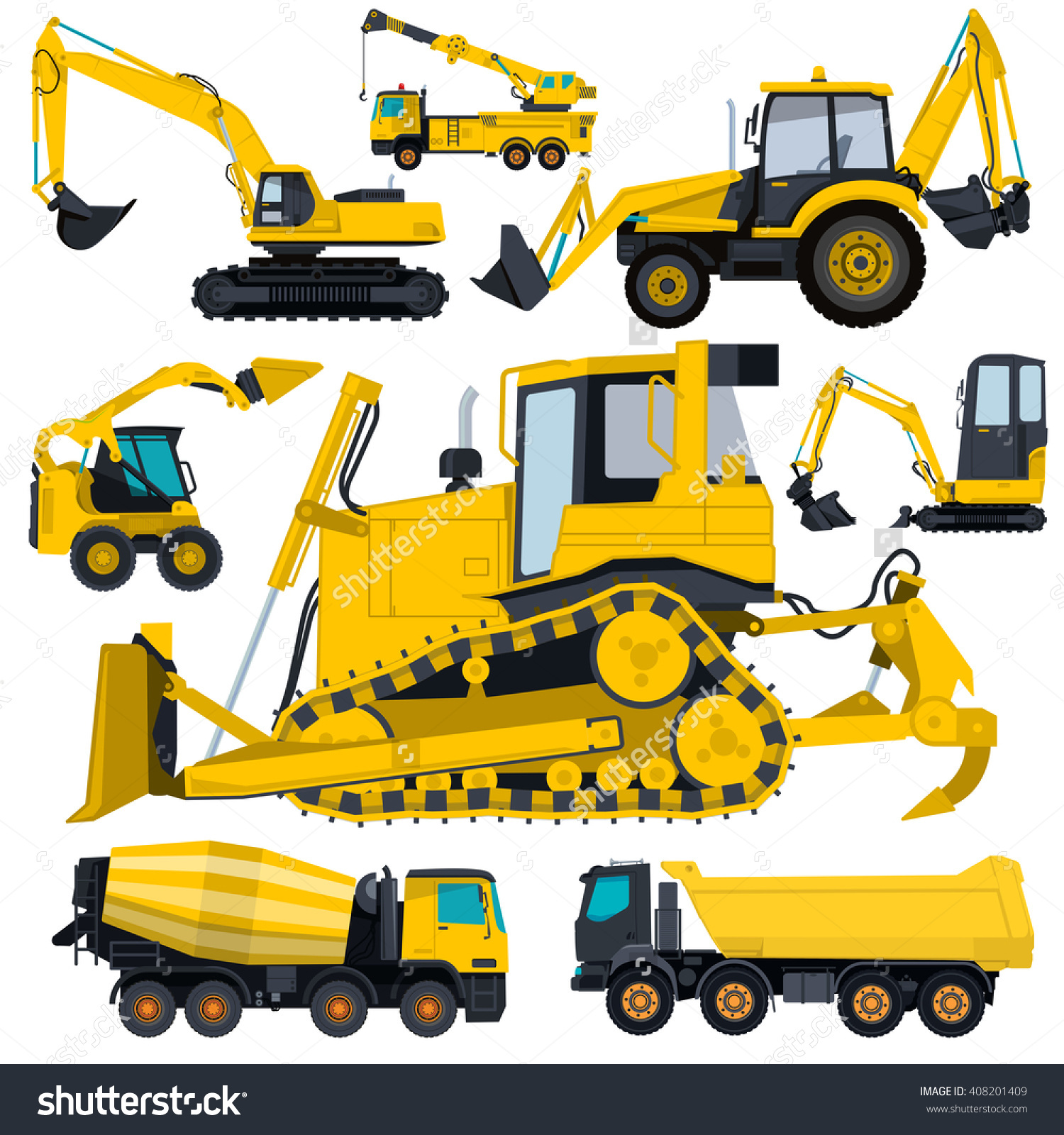 Construction Machinery Yellow Set Ground Works Stock Vector.