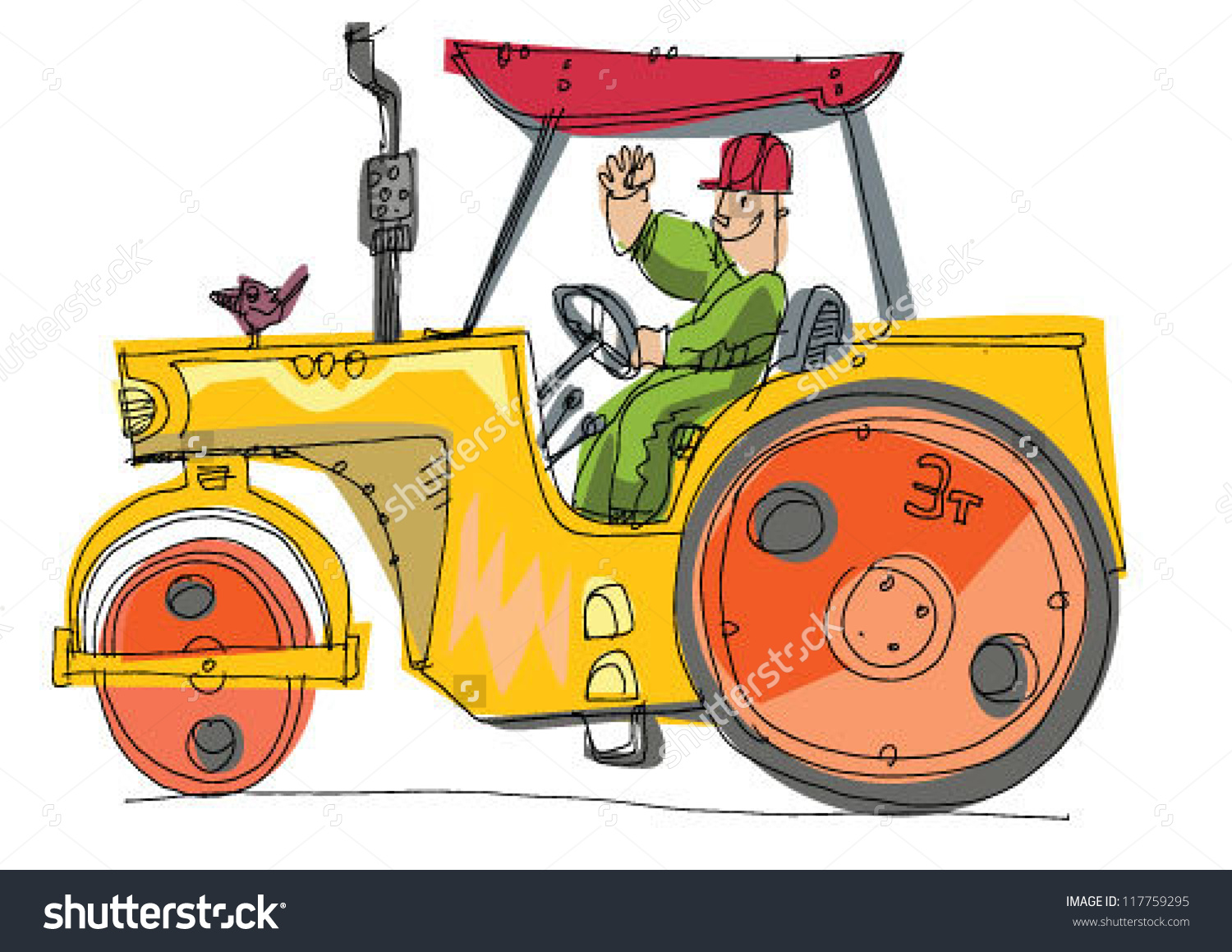 Road Roller Vector Cartoon Stock Vector 117759295.