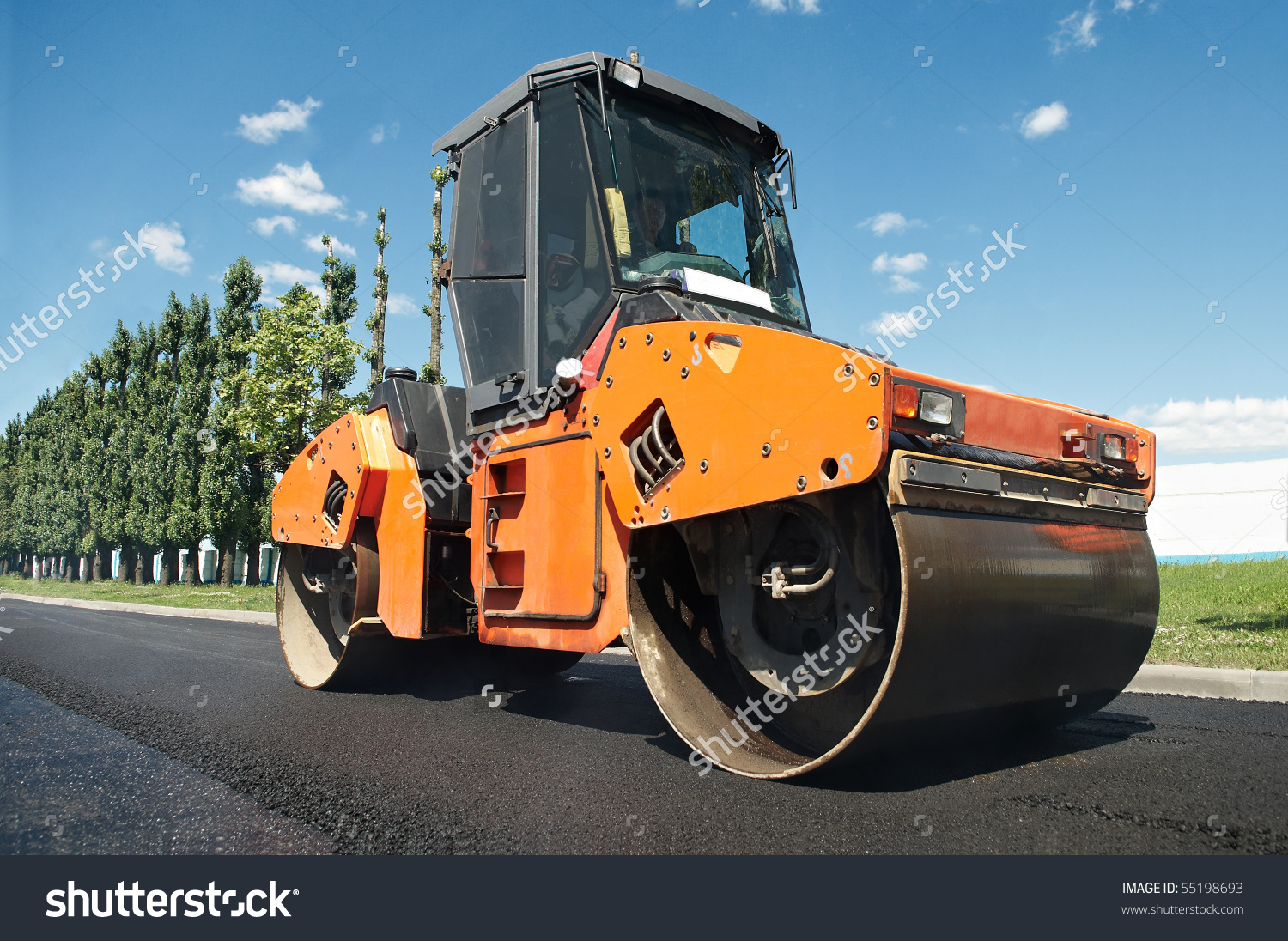 Heavy Vibration Roller Asphalt Pavement Works Stock Photo 55198693.