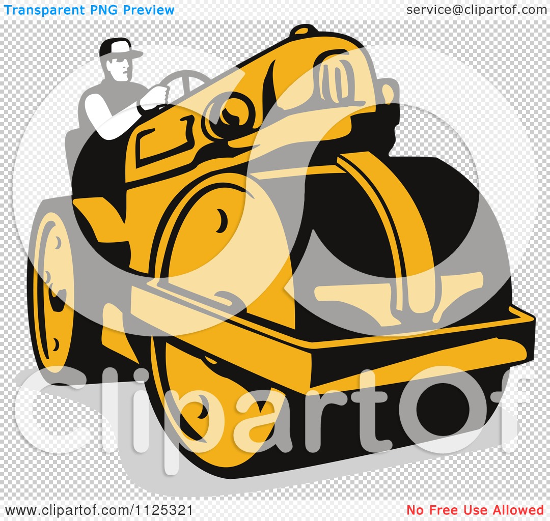 Clipart Of A Retro Worker Operating A Road Roller.