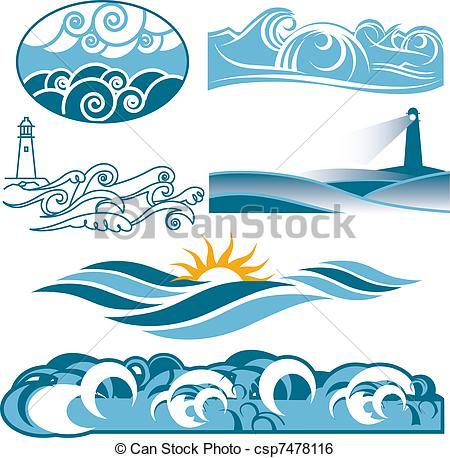 Clip Art Vector of Rolling Blue Seas.
