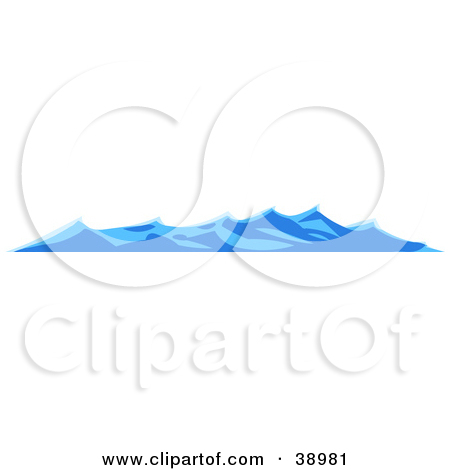 Clipart Illustration of Waves Rolling On The Surface Of The Sea by.