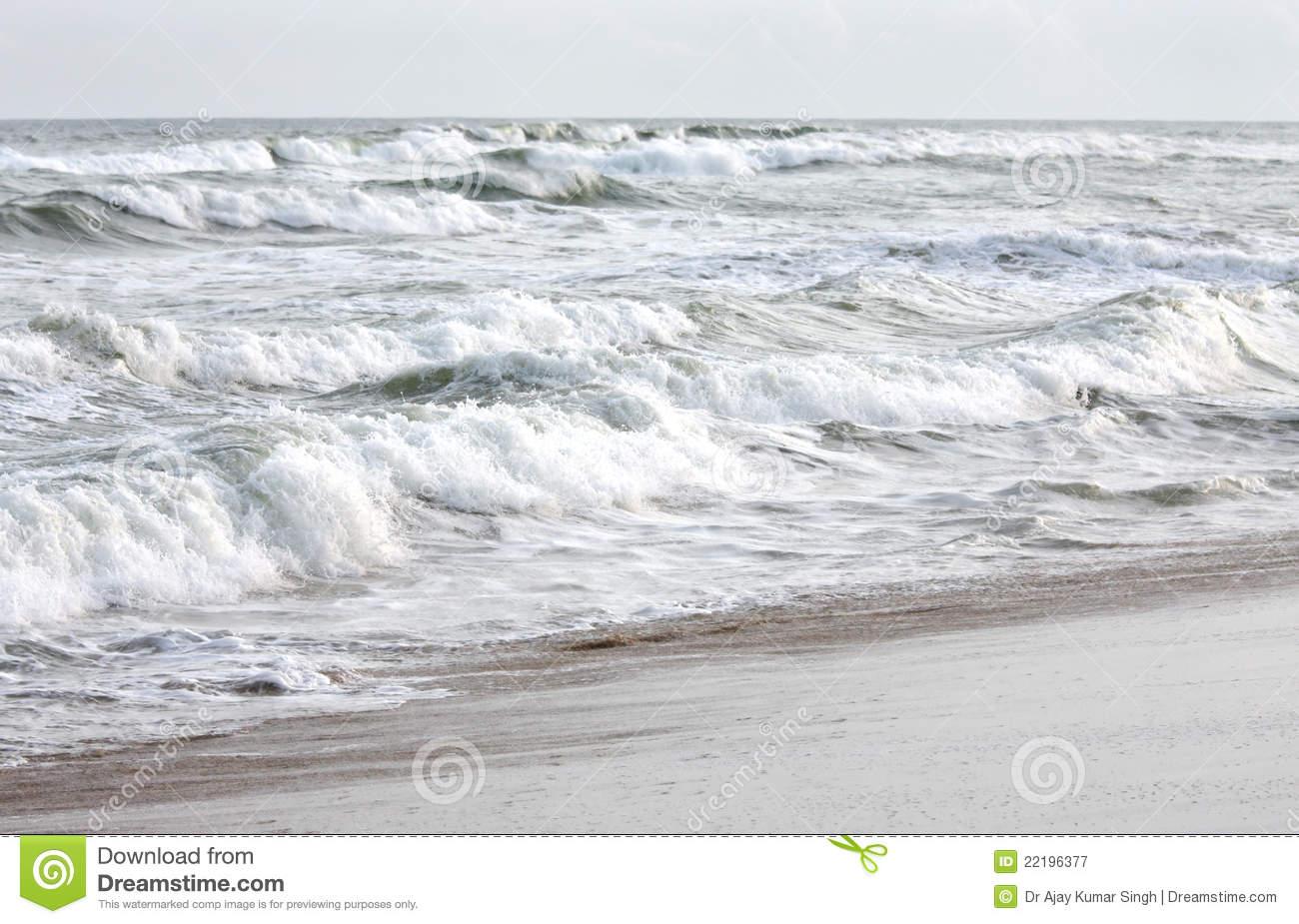 Rolling Sea Waves In Puri Sea Beach, Orissa, India Royalty Free.
