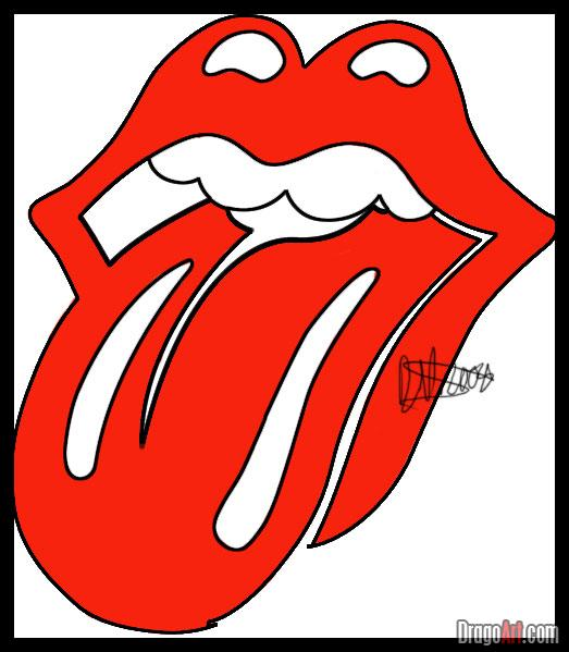 How To Draw The Rolling Stones Lips And Tongue, Step by Step, Band.