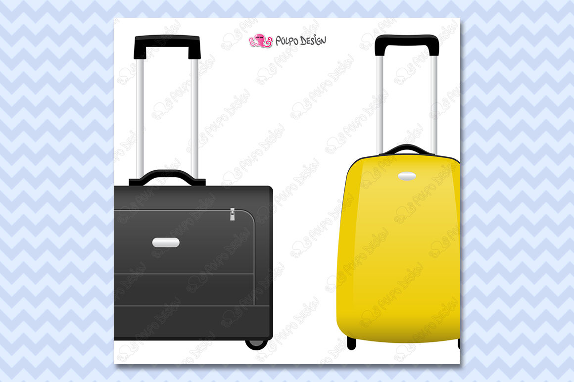 Rolling Suitcases clipart By Polpo Design.