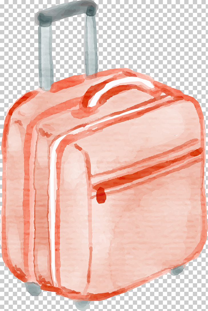 Suitcase Watercolor painting Baggage Drawing, Hand drawn.