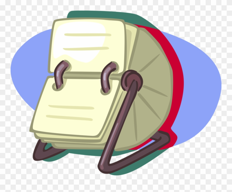 Vector Illustration Of Rolodex Rotating File Device Clipart.