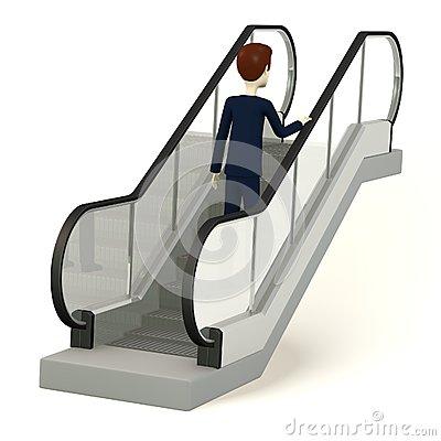 Cartoon Man Escalator Stock Illustrations.