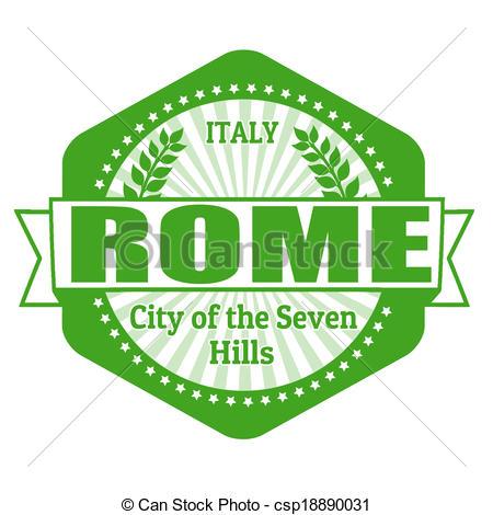 Vettori di italia, francobollo, etichetta, roma, capitale, o.