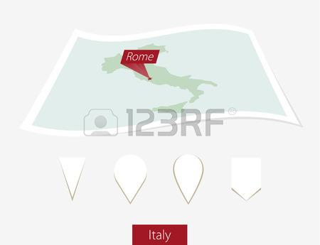 Mappa Cartacea Curvo D'Italia Con Roma Capitale Su Sfondo Grigio.