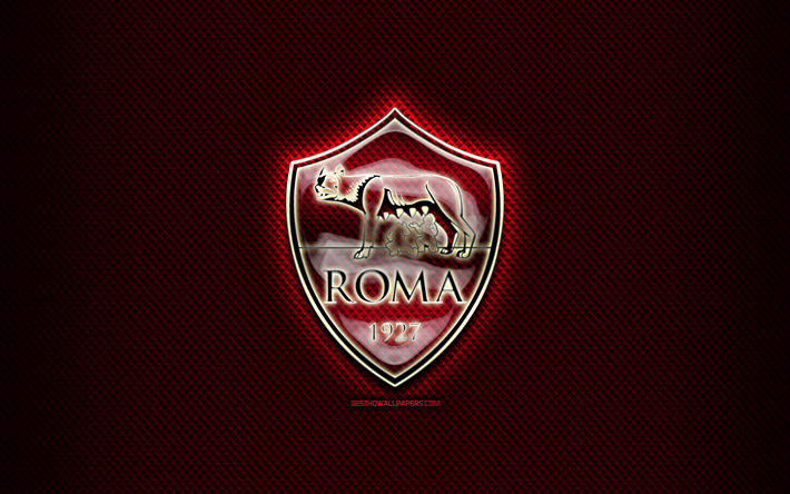 Download wallpapers Roma FC, glass logo, purple rhombic.