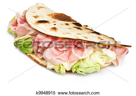 Stock Image of Piadina romagnola with ham salad and cheese.