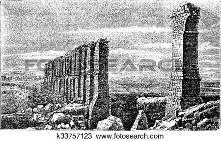 Clipart of Carthage roman aqueduct ruins old engraving. k33757123.