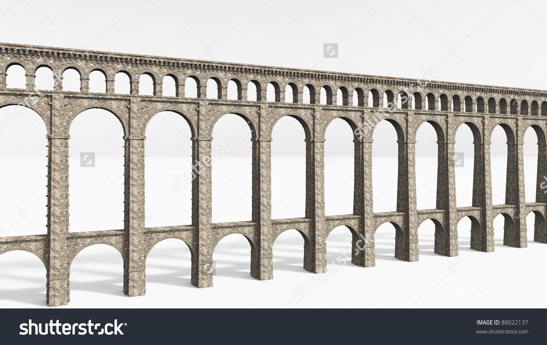 Roman Aqueduct On White Stock Illustration 88022137.